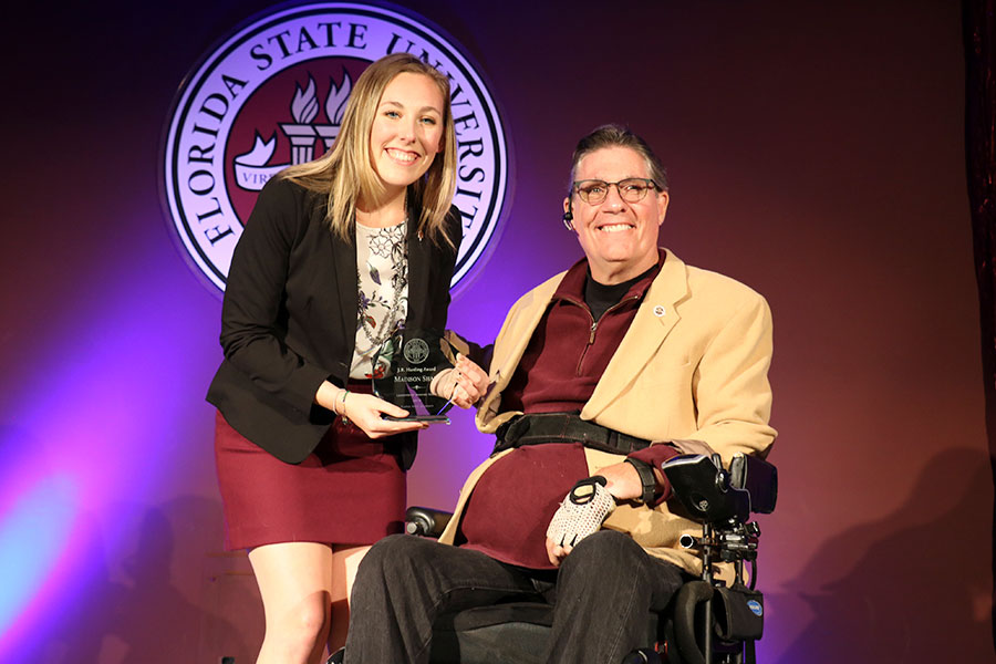Florida State University, FSU Madison Shaff, and JR Harding accepting award
