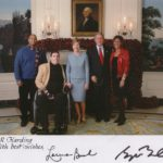 President George W. Bush, Laura Bush and J.R Harding, national disabilities advocate. Signed photo in White House